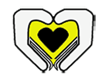 Heart shape comprised of a small black heart in the center of a yellow heart with stylized hands encompassing both.